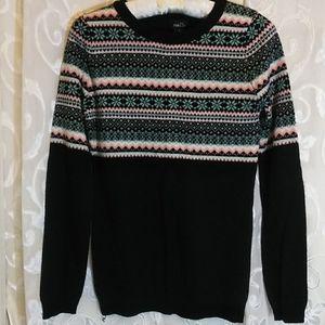 Rue 21 small sweater, black, pink, white